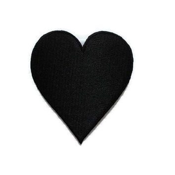 Black Heart New Iron Patch Embroidered Applique Size 6.5cm.x7.4cm.