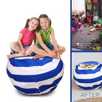 Stuff 'n Sit - The Stuffable Storage Bean Bag - Clean up Your Kid's Room and Put Those Stuffed Animals to Work for You! - By Cre