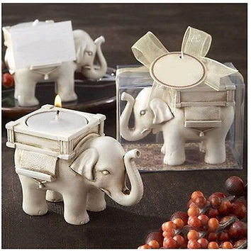 Lucky Elephant Tealight Candle Holder Ivory Bridal Wedding Party Home Decor