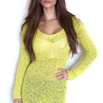 Asymmetrical Scoop Neck Sweater - Lime