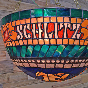 Vintage Schlitz Hanging Light, WORKS, Tiffany Style Schlitz Globe Light