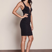 BLACK DEEP PLUNGE CUT OUT DRESS
