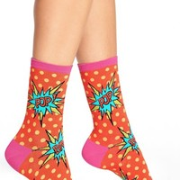 Women's Hot Sox 'Pop Bang Pow' Crew Socks , Size 9/11