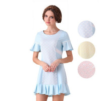 Casual Blue Embroidered Front Flounce Mini Dress