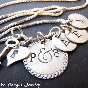 sterling silver mommy necklace mom jewelry key to my heart personalized family necklace