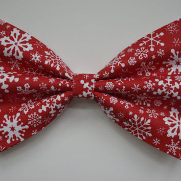 Christmas Hair Bow, Snow Flake Hair Bow, Holiday Hair Bow