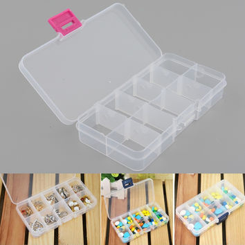 New Plastic 10 Slots Compartment Adjustable Jewelry Earrings Clear Box Case Holder Craft Container