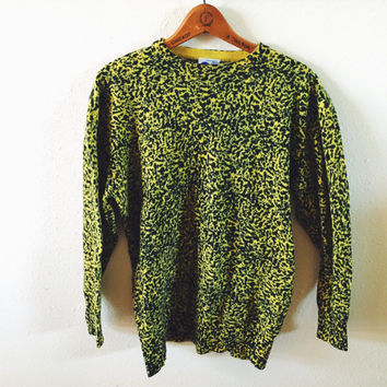 Vintage, Extra Touch, 1980s,Chartreuse, Leopard Print, Lambswool, Sweater, Fall Fashion, Rockabilly, Fashion