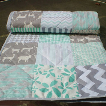Modern Baby quilt,mint green,grey,patchwork crib quilt,woodland,rustic,organic,baby boy bedding,baby girl quilt,deer,elk,chevron Elk in Mint