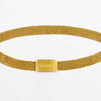VINTAGE Chanel 96A Gold Tone Metal 7 Strand Chain Link and Logo Plate Belt