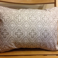 "Gray and White rectangular throw pillow - 12"" X 16"""