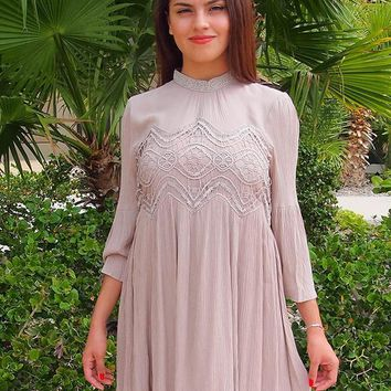 Time To Have Fun Beige Short Dress With Crochet Lace Top