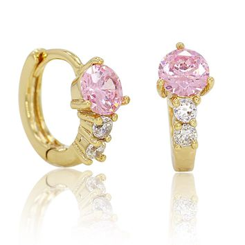 14k Gold Plated Pink Clear Crystals Small Hoop Huggie Earrings for Women 9mm