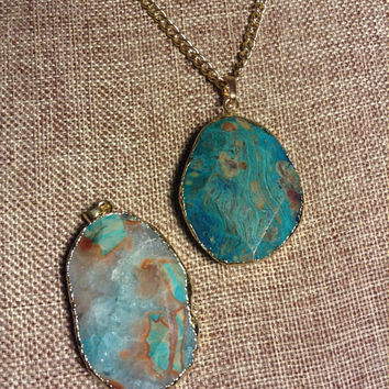 Turquoise Sea Sediment Jasper Druzy Gold Colored Chain Pendant Necklace