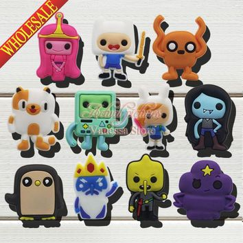 Hot Popular cartoon 11pcs Adventure time shoes decoration shoe accessories shoe charms fit wristbands kids christmas toys & gift