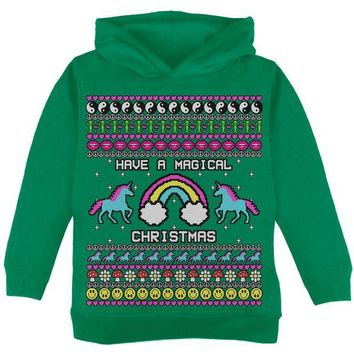 ONETOW Retro 90s Rainbow Unicorn Magical Ugly Christmas Sweater Toddler Hoodie