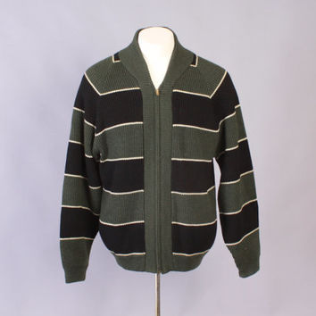 Vintage 60s SWEATER / 1960s Men's Green & Black Striped Wool Knit Zip Front Cardigan Jacket M - L