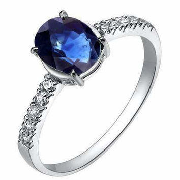 Sapphire sterling silver ring