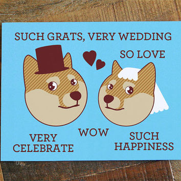 "Funny Wedding Card Doge ""Such Grats, Very Wedding"" - Funny Card, Internet Meme, Humorous Card, Shibe Congratulations, geeky nerd marriage"