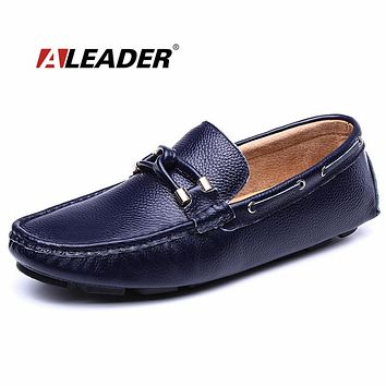 e46a3839f35 Casual Slip On Mens Shoes Autumn Genuine Leather Man Loafers Sum