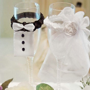 Bride Groom Wedding Party Wine Glass Flute Covers Decoration Cup sleeve 2pcs/lot = 1929487108