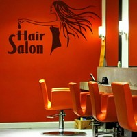ik859 Wall Decal Sticker hair salon girl hairstyle barber scissors styling comb