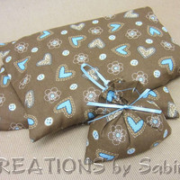 Hot Cold Therapy Pack, Heat Pack, Microwaveable Corn Pillow with washable cover brown, blue hearts, buttons FREE GIFT