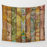 Around the World in Thirteen Maps Wall Tapestry by Maximilian San