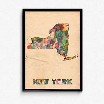 New York Map Poster Watercolor Print - Fine Art Digital Painting, Multiple Sizes - 12x18 to 24x36 - Vintage Paper Colors Style