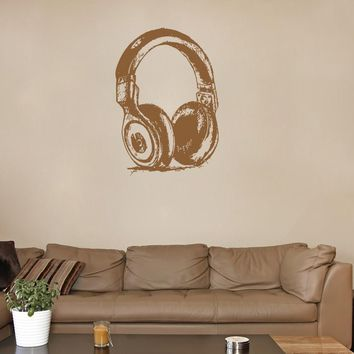 ik1360 Wall Decal Sticker Music headphones Bedroom Living Room