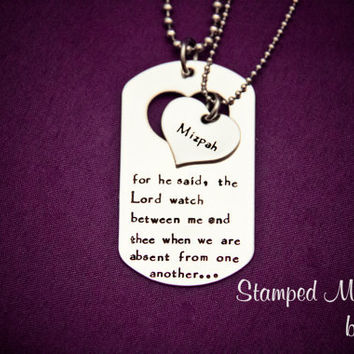 Mizpah - Hand Stamped Stainless Steel Necklace Set - Deployment - Long Distance Love - Bible Scripture Jewelry - Couples