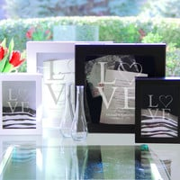Black Modern Love Wedding Shadow Box Set