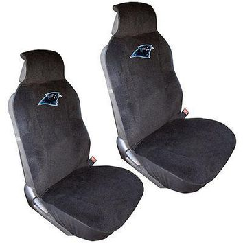 Licensed Official New 2pc NFL Carolina Panthers Car Truck Front Sideless Seat Covers Set
