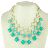 mint teal statement necklace,  bridesmaid necklace, bib necklace,wedding jewelry, chunky necklace