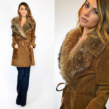 CINNAMON bohemian glam & COYOTE fur BELTED trench coat, small-large