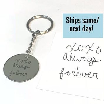 Engraved Handwriting Keychain, Signature Keychain, Engraved Signature Handwriting, Engraved Disc Keychain, Custom Handwriting Keychain