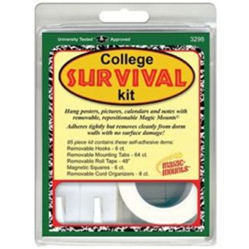 College Survival Kit for hanging dorm room decorations such as posters photos magazine pages cheap dorm accessory college stuff