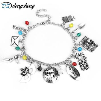 dongshengNew Pretty Little Liars Charm Bracelet Bangle GOT A SECRET CAN YOU KEEP IT Mask Crystal Beads Best Friends Bracelet -25