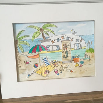 Camper at the beach original watercolor painting, 5 x 7 wall art, 8 x 7 wall art, beach scene, surfing, palm trees