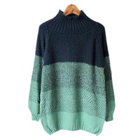 Green Color Block Loose Sweatshirt