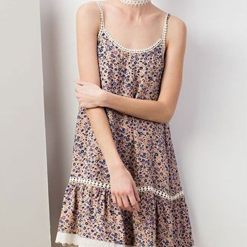 SUMMERY SLEEVE LESS CHARLIE FLORAL PRINTED SUN MINI CUTE DRESS