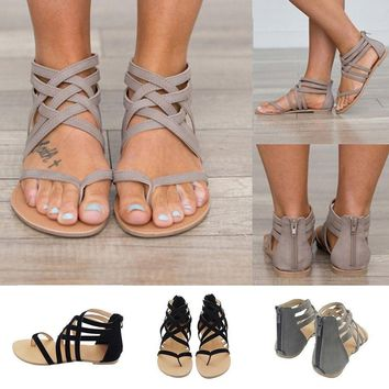 Women Ladies Strappy Gladiator Flats Summer Flip Thong Flops Beach Sandals Shoes