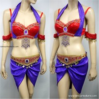 Esmeralda Red Purple Gypsy Rave Bra And Belt Skirt Halloween Costume