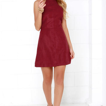 Saloon Swoon Wine Red Halter Dress