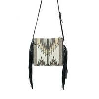 MZ Natural Chevrons Fair Trade Leather Fringe Bag