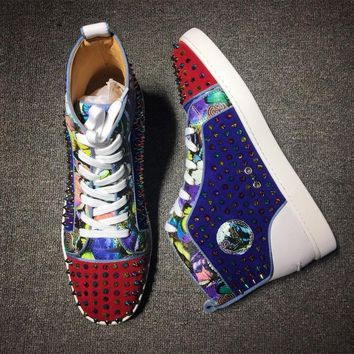 Christian Louboutin CL Louis Spikes Mid Style #1815 Sneakers Fashion Shoes Best Deal Online