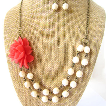 Coral Statement Necklace Flower Necklace Double Strand Necklace Chunky Coral Bridesmaid Jewelry Floral Jewelry Coral Wedding