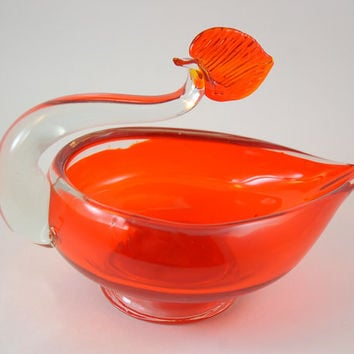 Vintage Glass Cigar Ashtray Bowl - Orange and Clear Glass - Bird Shape or Oil Lamp with Flame Shape