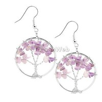 Silver Copper Wire Wrap Amethyst Quartz Gem Tree Of Life Chakra Dangle Earrings
