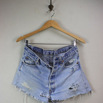 Vintage Levi's 501 Cut-Off Distressed Denim Shorts Size 33 Waist made in USA